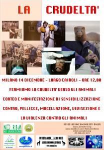 La Crudeltà - Manifestazione animalisti a Milano